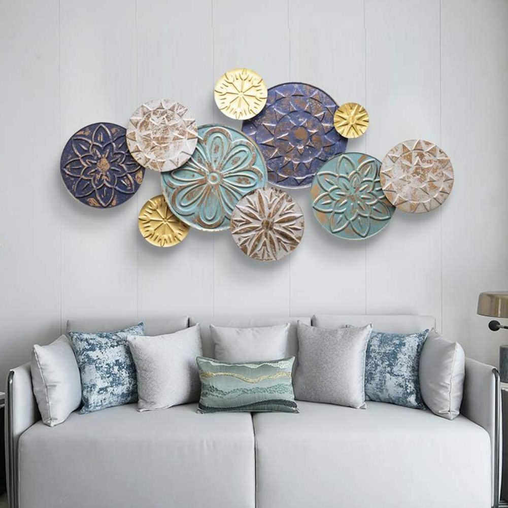 Sfxyj Metal Sculpture Wall Art – Nordic Color Printed Disc Wall Hanging Ornament – Metal Wall Decoration Pendant For Home Kitchen Bedroom For Most Popular Nordic Three Dimensional Iron Wall Art (View 16 of 20)