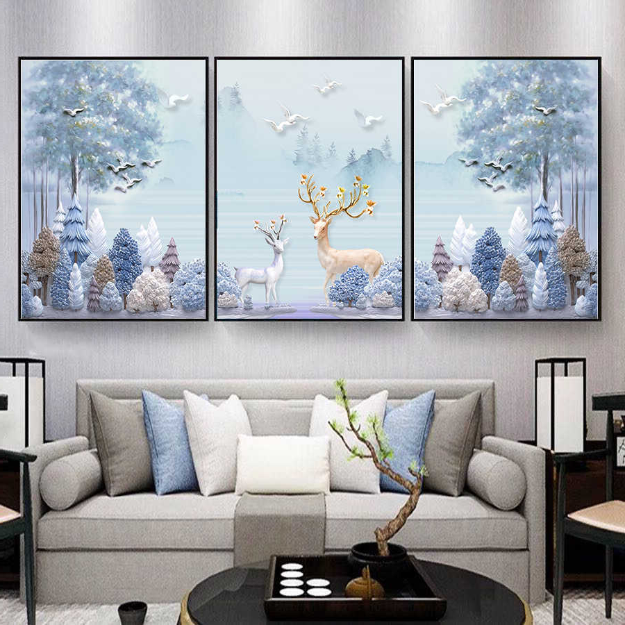 Trendy Embossed Three Dimensional Abstract Elk Tree Nordic Posters In Nordic Three Dimensional Iron Wall Art (View 4 of 20)
