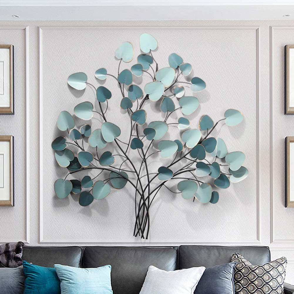 Well Known Nordic Three Dimensional Iron Wall Art Throughout Sfxyj Metal Sculpture Wall Art – Luxury Nordic Lotus Leaf Tree Wall Hanging Decoration – Metal Wall Decoration Pendant For Home Kitchen Bedroom (View 19 of 20)