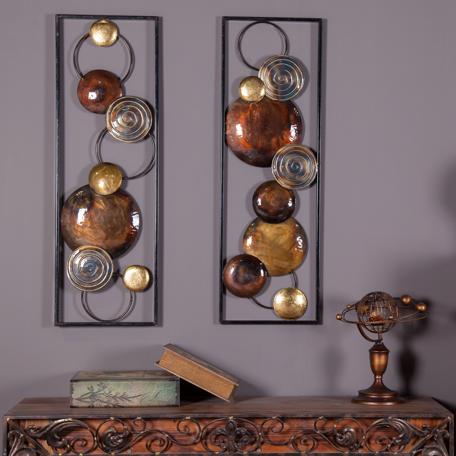 2 Piece Metal Wall Décor Set Within Most Recently Released Copper Rustic Iron Wall Décor (View 3 of 20)
