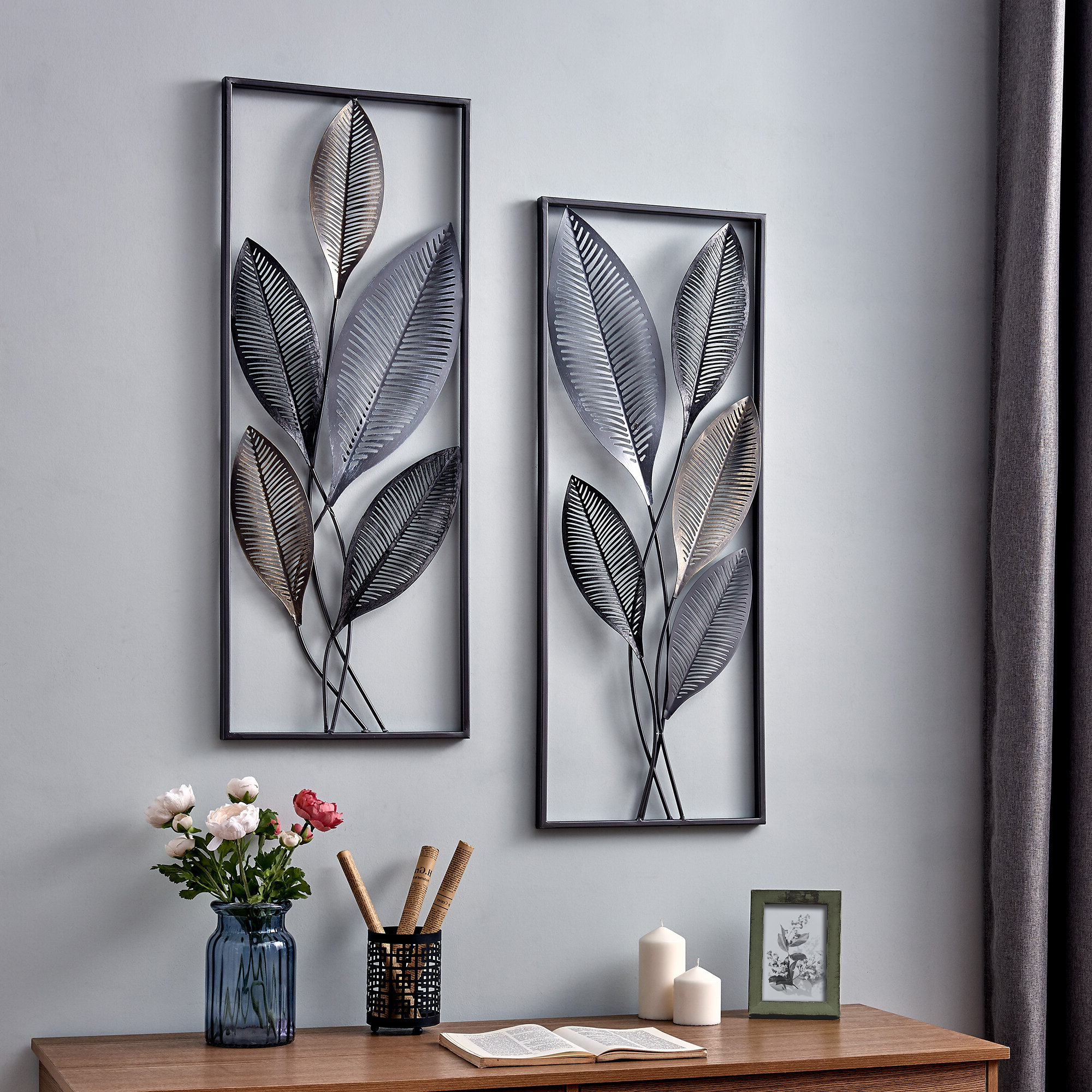 2 Piece Metallic Leaves Wall Décor Set Regarding Best And Newest Rustic Metal Wall Décor By Winston Porter (View 5 of 20)