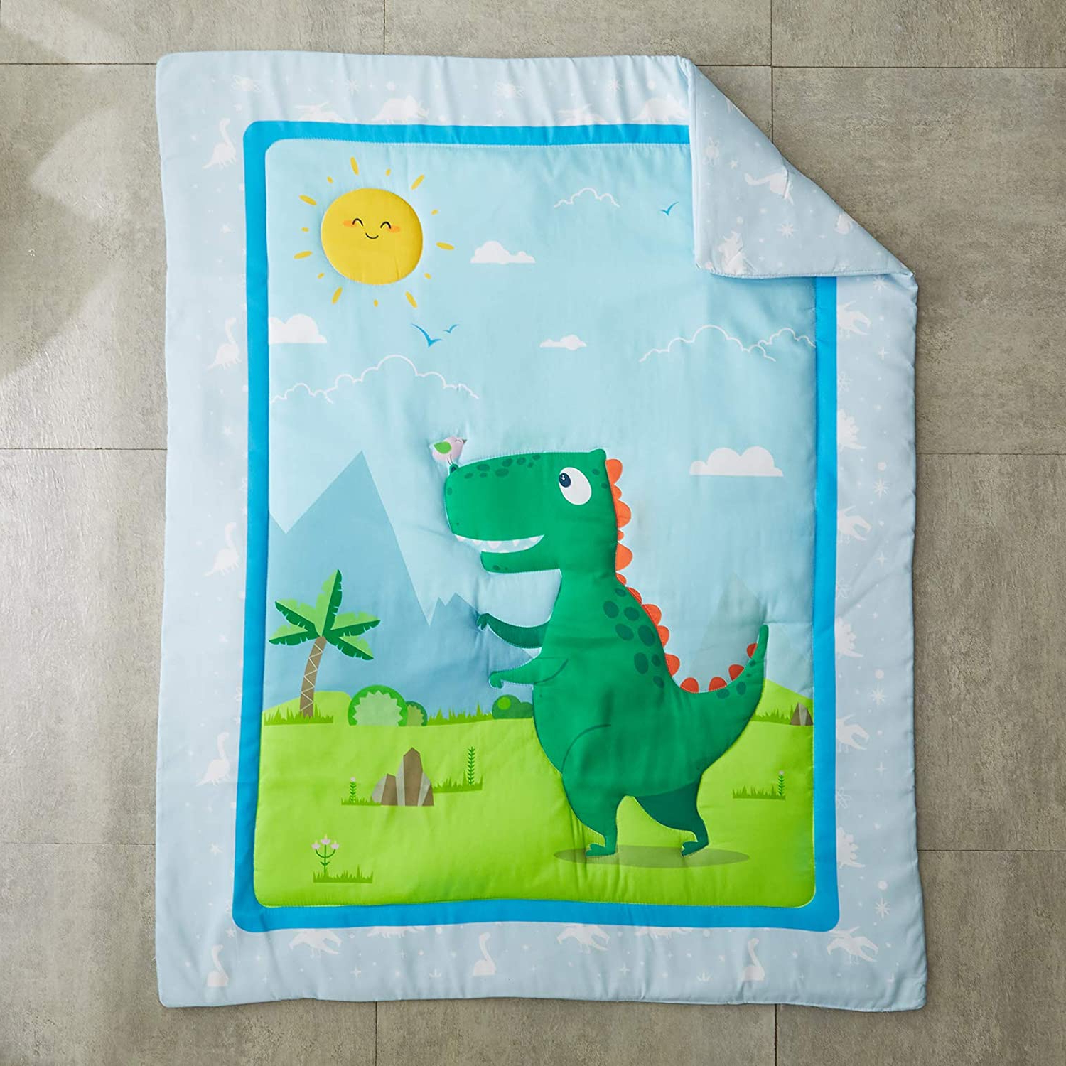 2019 3 Piece Crib Bedding Set Green Dinosaur Baby Boys Or Girls Dino Nursery Cute Style With Blue Sky And Orange Sun With Blended Fabric Mod Dinosaur 3 Piece Wall Hangings Set (View 8 of 20)