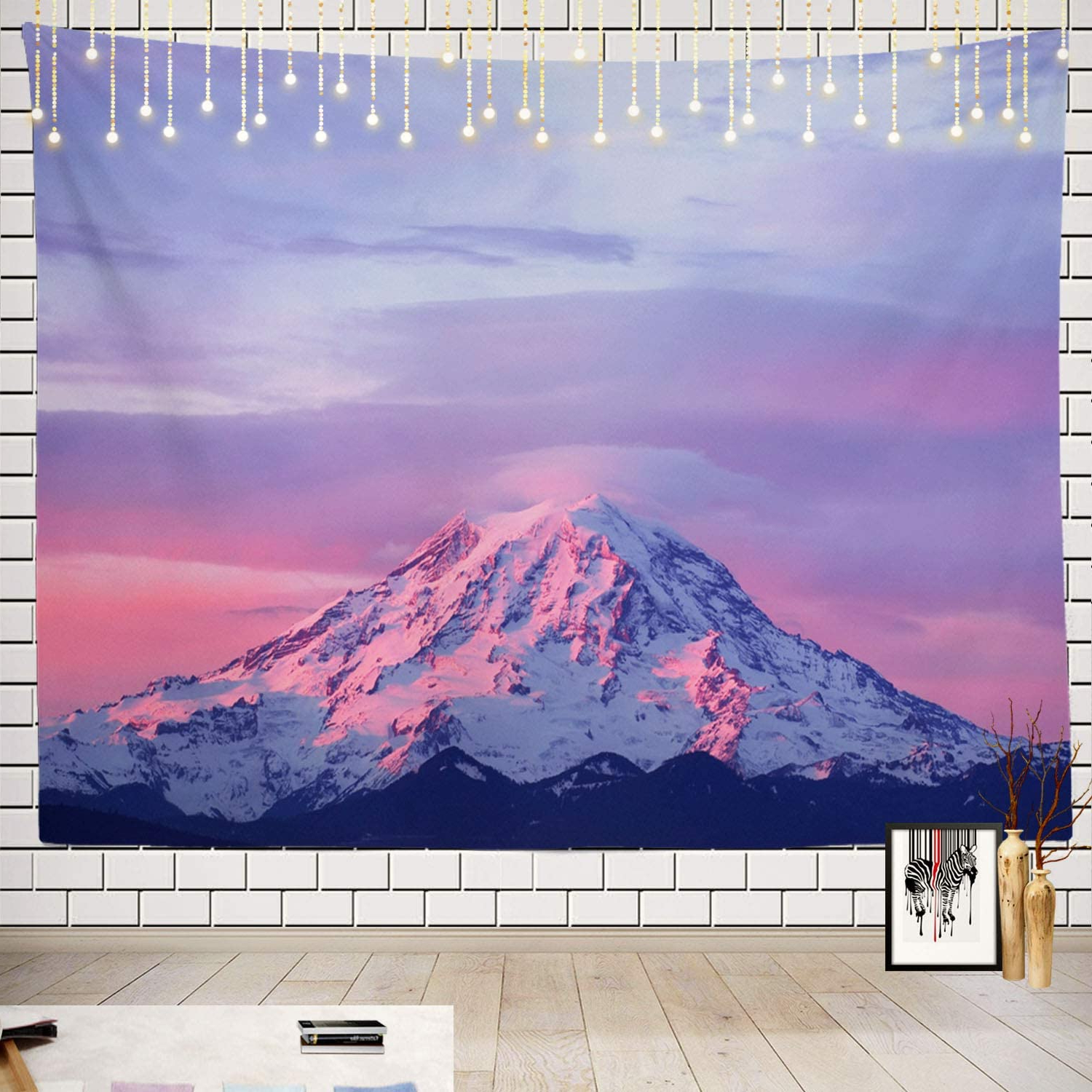 2019 Batmerry Pink Tapestry, Mount Rainier National Park At Sunset Picnic Mat Beach Towel Wall Art Decoration For Bedroom Living Room Dorm, 51.2 X (View 17 of 20)