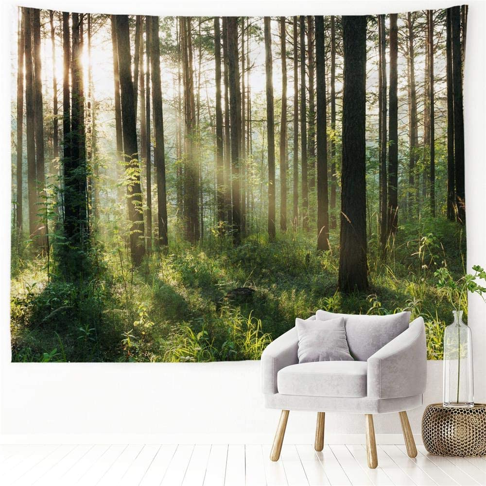 """2019 Blended Fabric Hello Beauty Full Wall Hangings Pertaining To Procida Home Tapestry Wall Hanging Nature Art Polyester Fabric Tree Theme, Wall Decor For Dorm Room, Bedroom, Living Room, Nail Included – 90""""w X 71""""l (View 19 of 20)"""