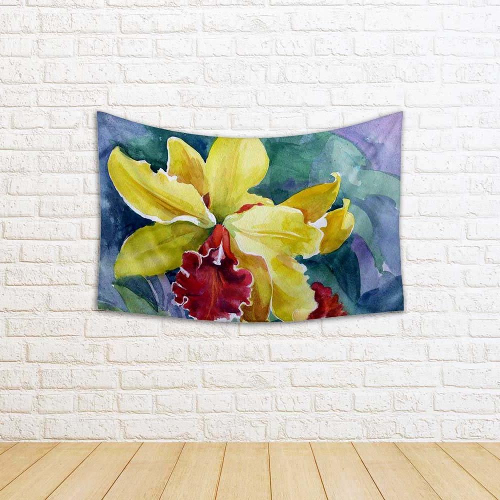 2019 Blended Fabric Irises Tapestries Pertaining To Artzfolio Yellow Iris Satin Tapestry Wall Hanging (View 16 of 20)