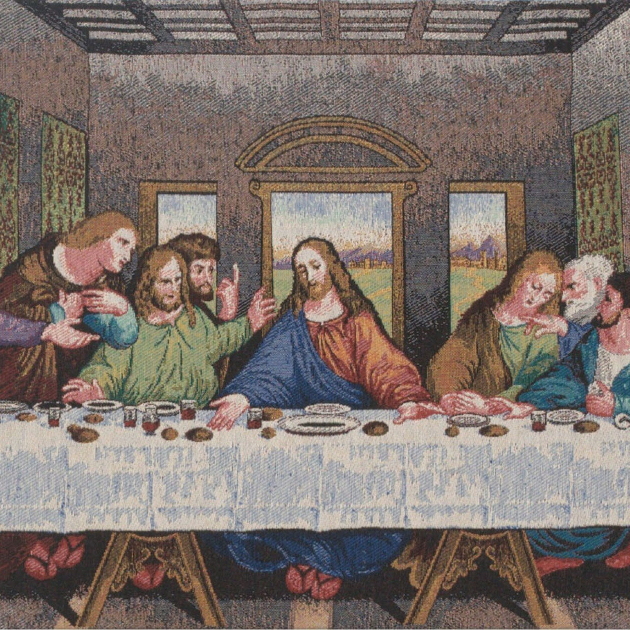 2019 Blended Fabric Leonardo Davinci The Last Supper Wall Hangings For The Last Supper Panel Stretched Wall Tapestry (View 8 of 20)