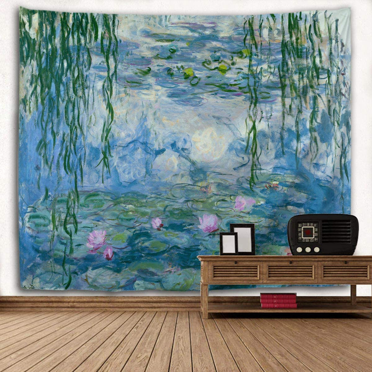 2019 Blended Fabric Spring Party Wall Hangings Regarding Large Tapestry Monet Wall Tapestry Water Lilies Oil Paintings Flowers Tapestry Wall Hanging Art Home Decor For Living Room Bedroom Bathroom Kitchen (View 14 of 20)