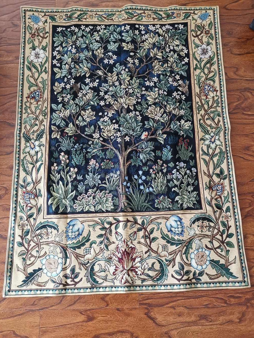 2019 Blended Fabric Tree Of Life, William Morris Wall Hangings Intended For William Morris Blue Tree Of Life 140*107cm Antique Textile Decorative Belgiu Wall Hanging Tapestry For Home Decorative Tapestry (View 12 of 20)