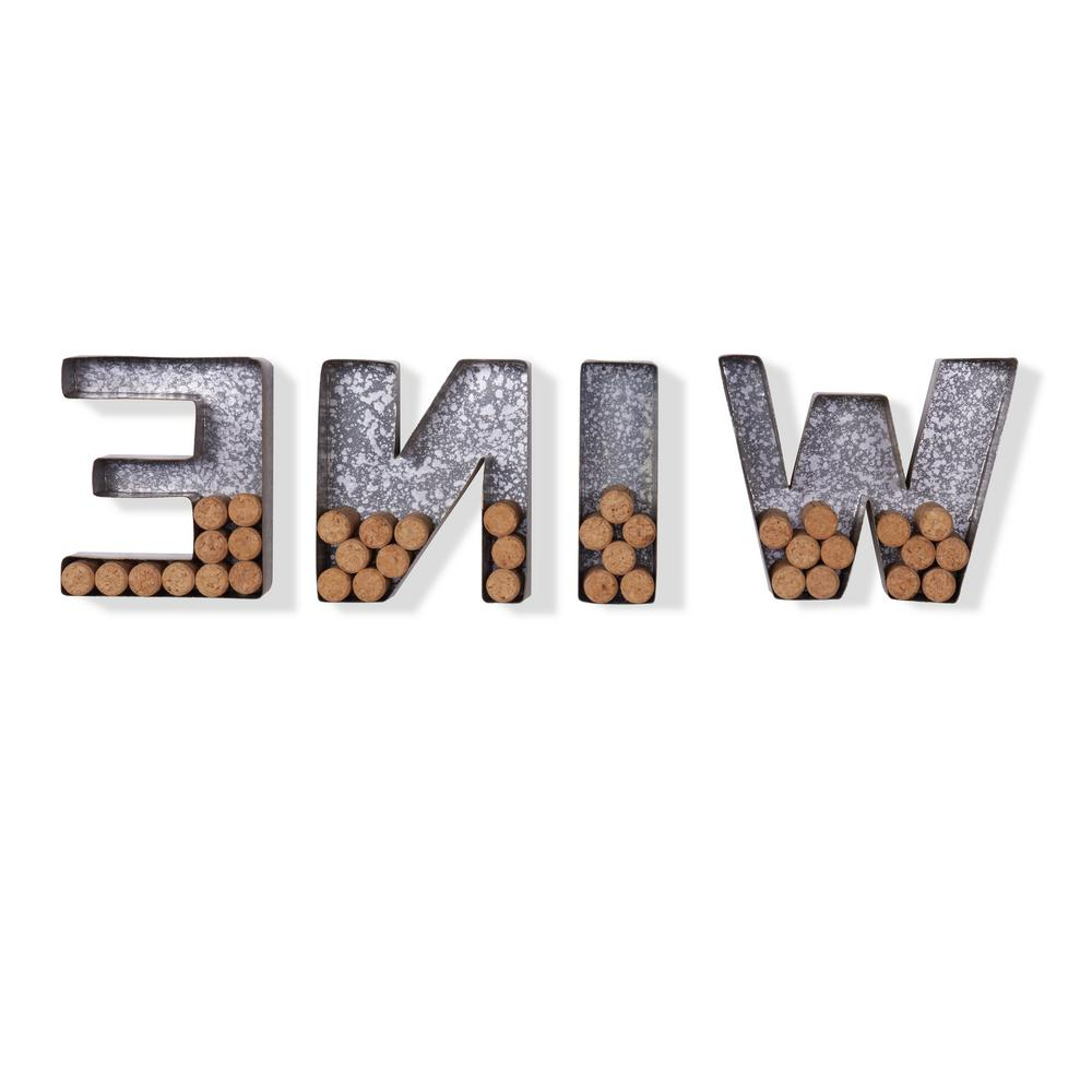 "2019 Danya B ""wine"" Galvanized Sheet Metal Letter Set For Corks Hg11415 – The Home Depot With Regard To 4 Piece ""wine"" Letter Set Cork Holder Wall Décor Set (View 16 of 20)"