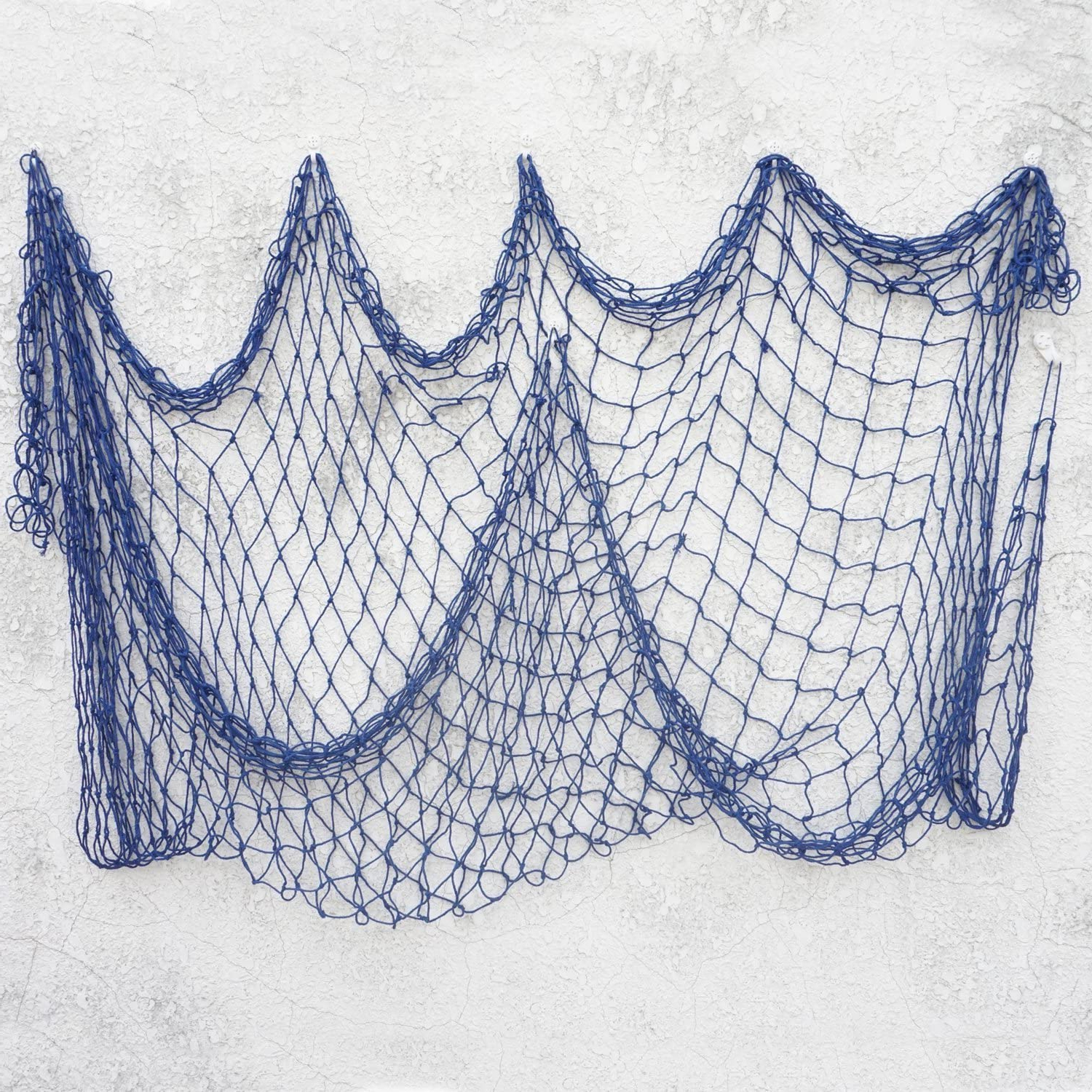 2019 Handcrafted Hanging Fish In Net Wall Décor Intended For Bilipala Decorative Fish Netting, Fishing Net Decor, Ocean Pirate Beach Theme Party Decorations, Mediterranean Decor, Blue (View 16 of 20)