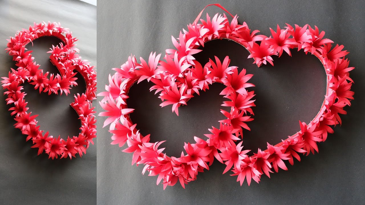 """2019 Heart Shaped """"home"""" Sign Wall Décor Regarding Diy Paper Heart Wall Hanging – Easy Wall Decoration Ideas – Paper Craft (View 16 of 20)"""
