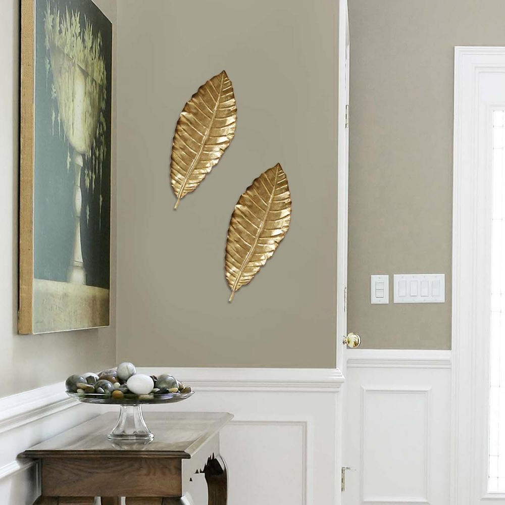 2019 Stratton Home Decor Elegant Metal Leaf Wall Decor Shd0112 – The Home Depot Pertaining To Blended Fabric Leaf Wall Hangings (View 15 of 20)
