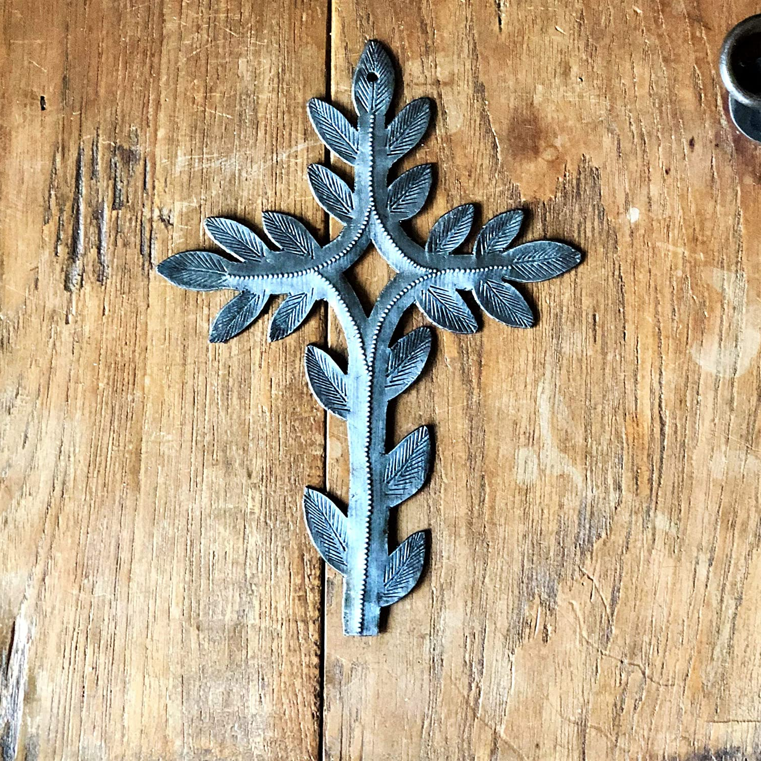 2019 Wall Cross Collection, Small Metal Cross With Leaf Design, Gift Exchange, Authentic Upcycled Artwork, Handmade, Spiritual Plaque, 5 X (View 20 of 20)