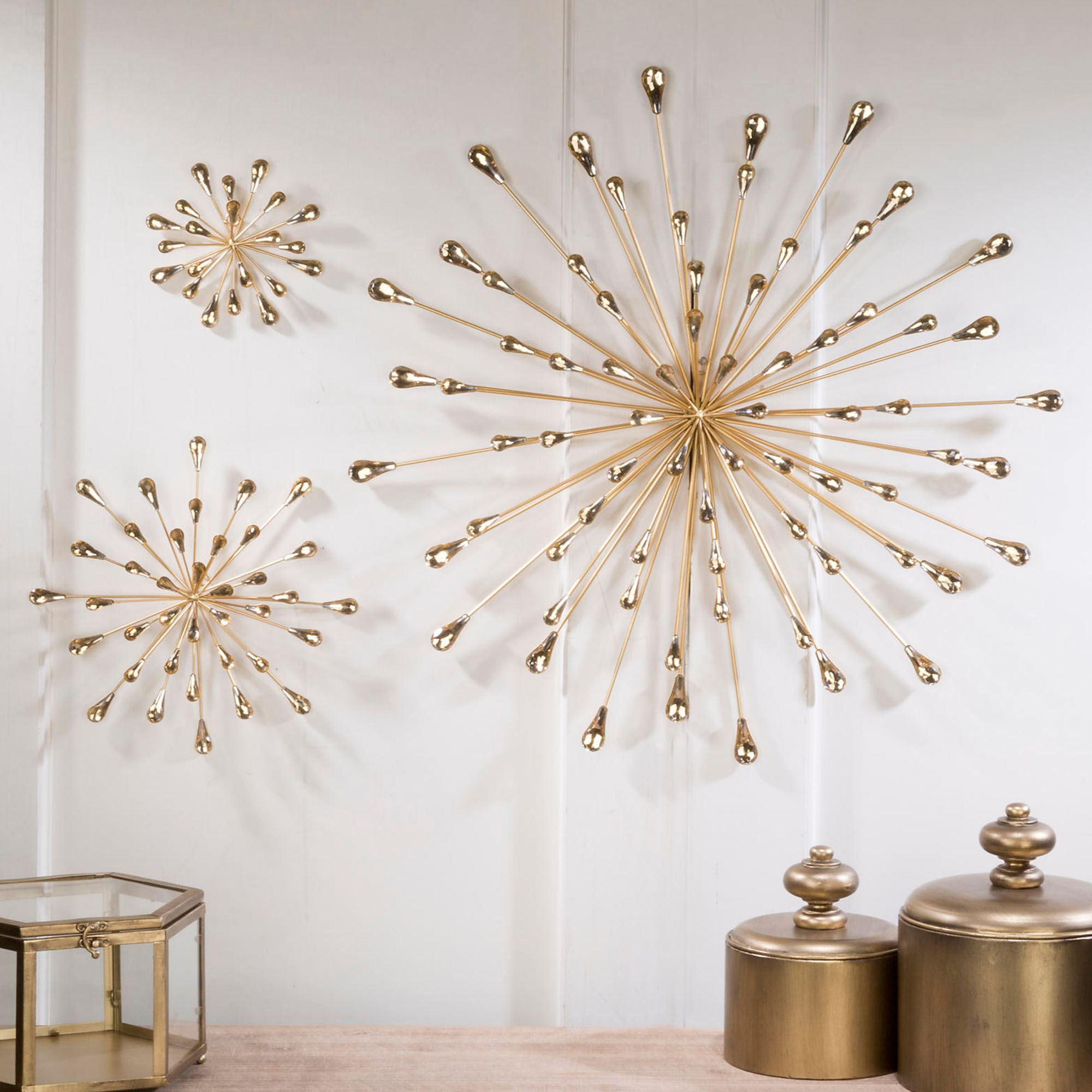 2020 2 Piece Starburst Wall Décor Set By Wrought Studio With Jelena Gold Starburst Metal Wall Art (View 5 of 20)