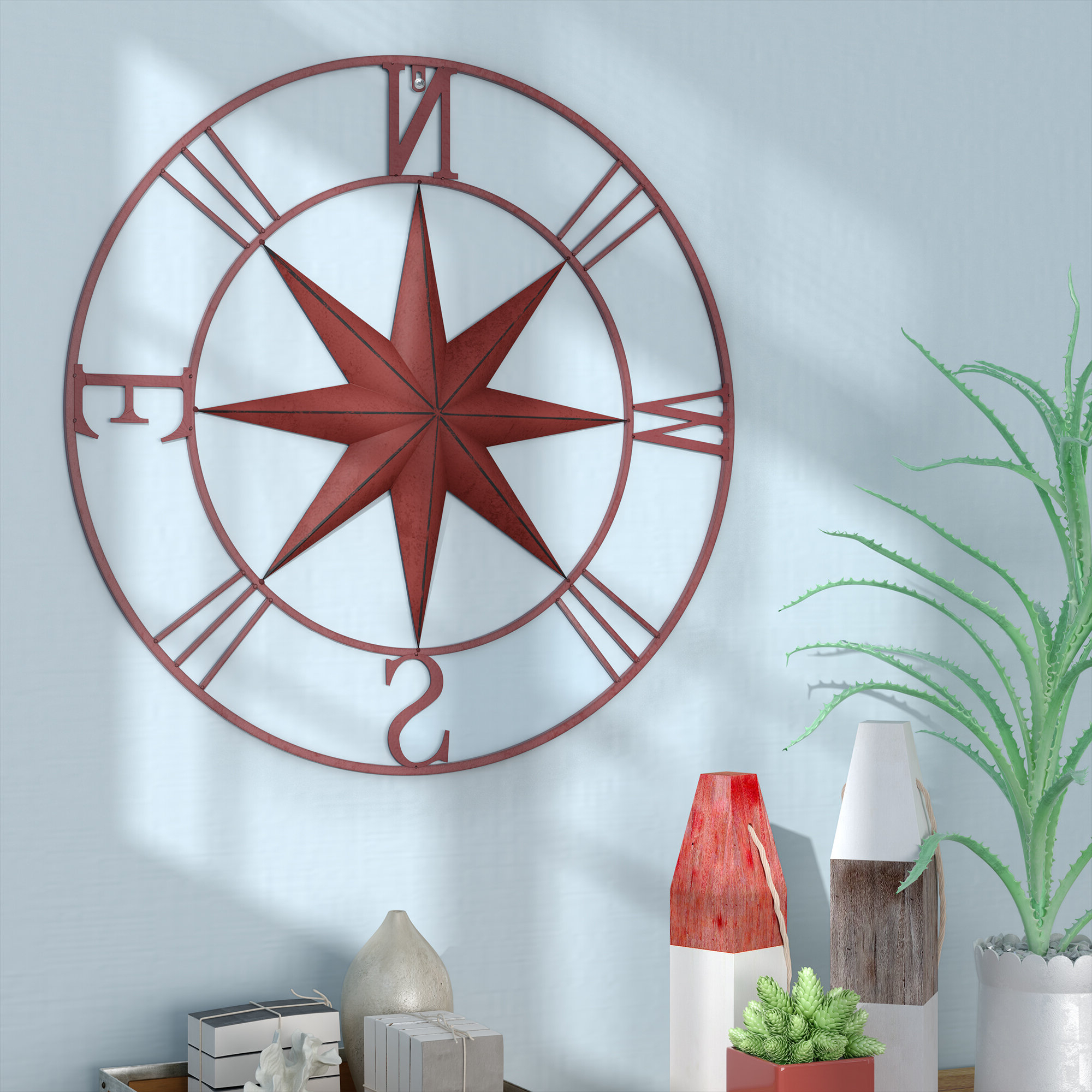 2020 Antique Compass Rose Wall Décor Regarding Compass Metal Wall Décor By Beachcrest Home (View 2 of 20)
