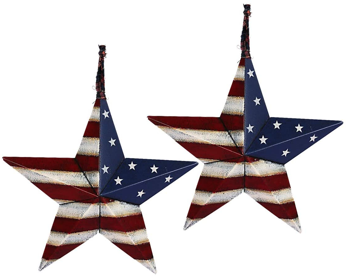 2020 Barn Star Wall Décor (set Of 2) Throughout Metal Barn Star Set Patriotic Home Decor Primitive Indoor Outdoor Wall Art  2 Pcs Rustic Hanging Stars Decorations For Walls Fence Porch House July Of (View 14 of 20)