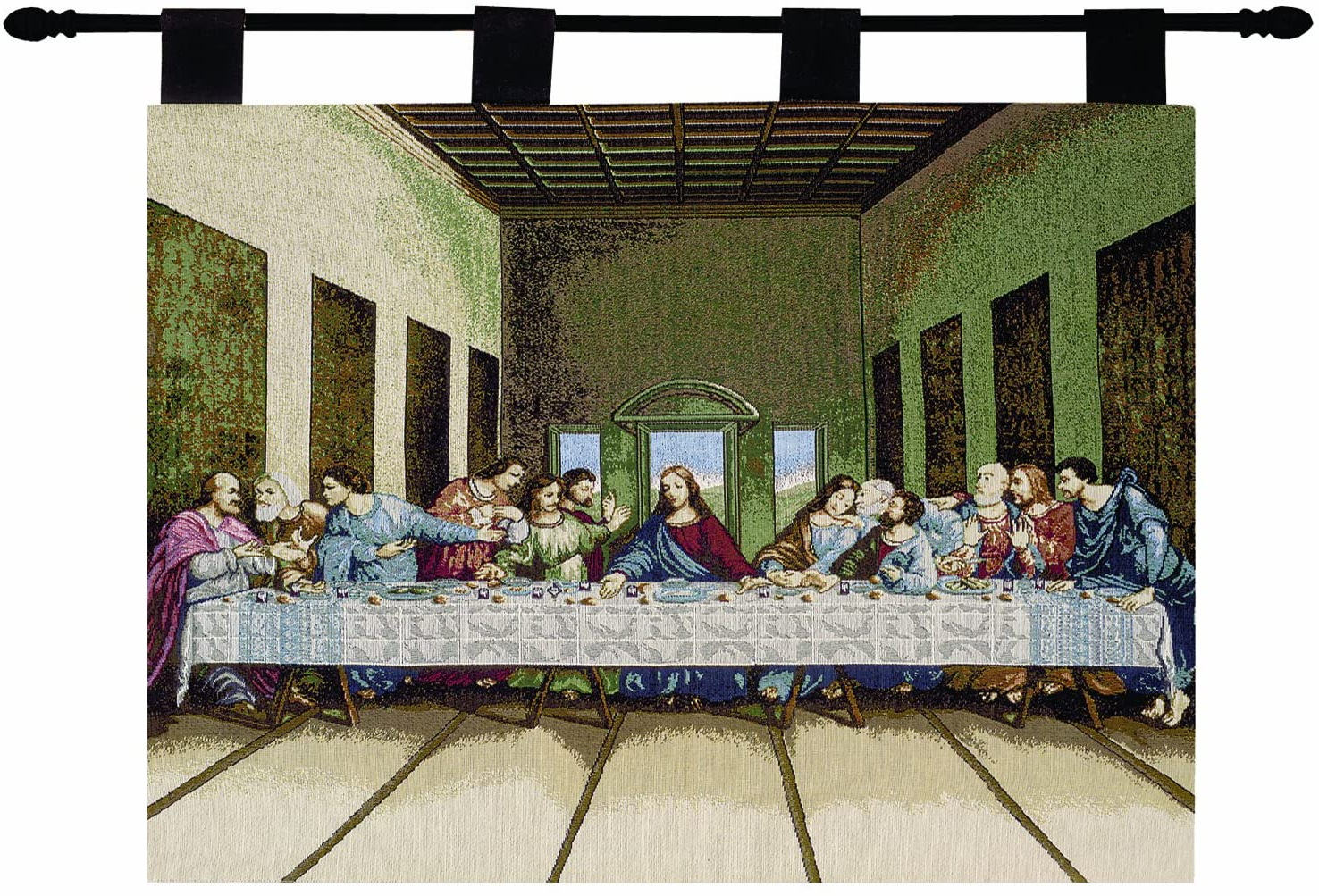 2020 Blended Fabric Freedom Verse Tapestries And Wall Hangings Inside Manual Inspirational Collection Wall Hanging And Finial Rod, Last Supper, 36 X 26 Inch (View 2 of 20)