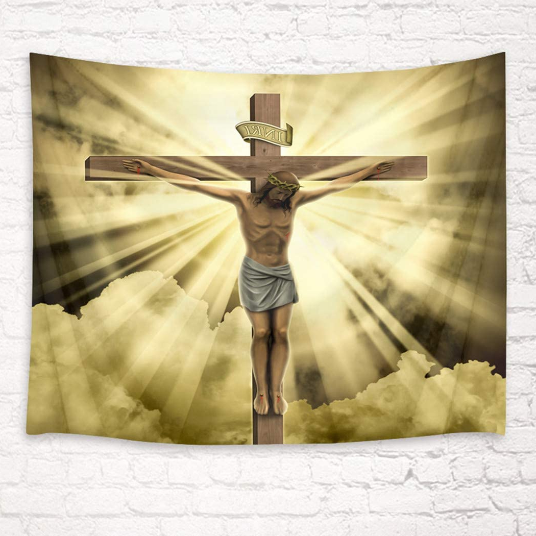 2020 Blended Fabric Old Rugged Cross Wall Hangings With Hvest Jesus Christ Crucifix Tapestry Wall Hanging Easter Wall Tapestry Christian Cross Wall Hanging Holy Crucifix Tapestries For Bedroom Living Room (View 7 of 20)