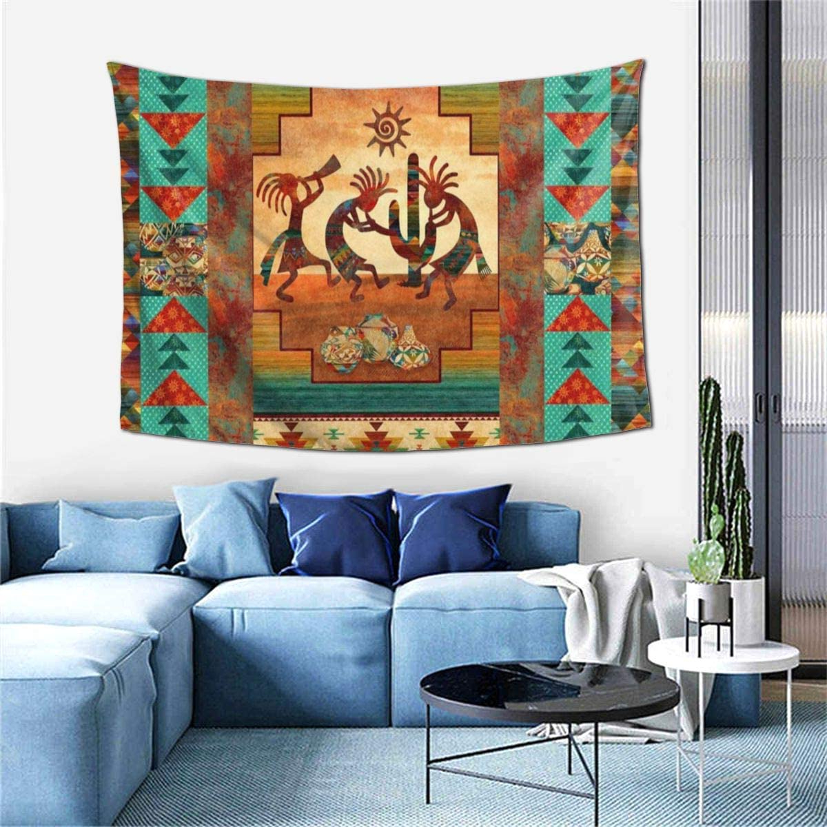 2020 Blended Fabric Southwestern Bohemian Wall Hangings Inside Msanlixian Wall Hanging Decoration Tapestries Southwest Kokopelli Native American Wall Tapestry For Dorm Living Room Bedroom Blanket Wall Art Home (View 4 of 20)