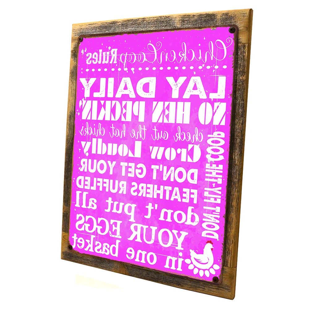 "2020 Framed Pink Chicken Coop Rules 9""x12"" Metal Sign, Wall Decor For Porch, Patio, Or Deck, Hand Crafted From Reclaimed Materials – Walmart Throughout 'porch Rules' Metal Wall Décor (View 18 of 20)"