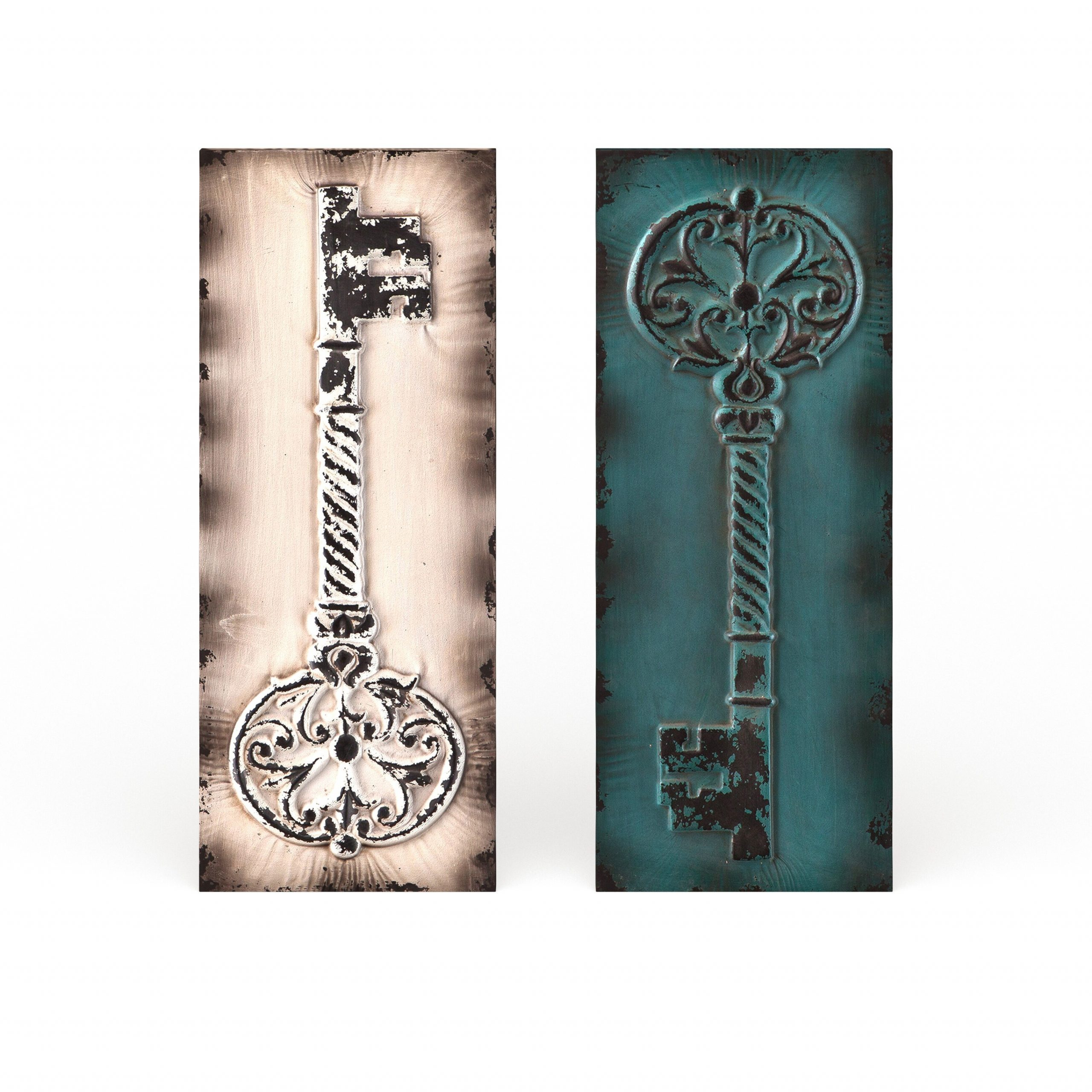 2020 Gracewood Hollow Isaac Key Metal Wall Panel 2 Piece Set Intended For Key Wall Décor (set Of 2) (View 6 of 20)