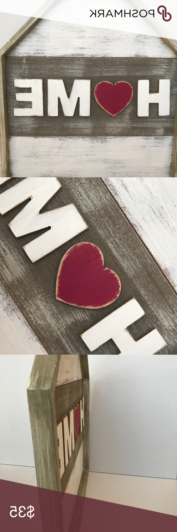 2020 Hallmark Home Heart Wooden Wall Sign Nwt (View 8 of 20)