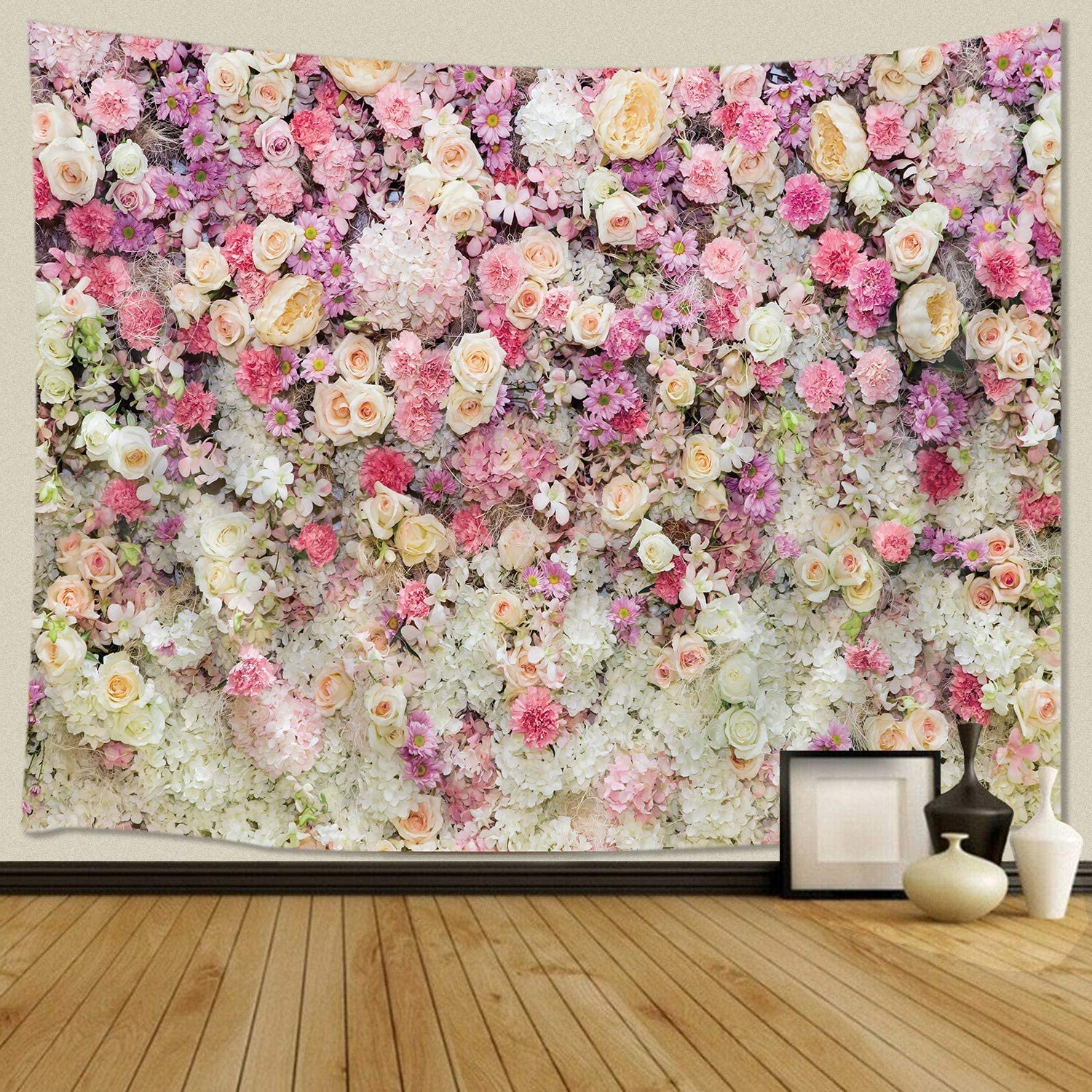2020 Jawo Floral Wall Tapestry For Girls, Colorful Pink Yellow Rose Flower Tapestry Wall Hanging For Bedroom, Romantic Spring Aesthetic Tapestry Beach Throughout Blended Fabric Fruity Bouquets Wall Hangings (View 20 of 20)