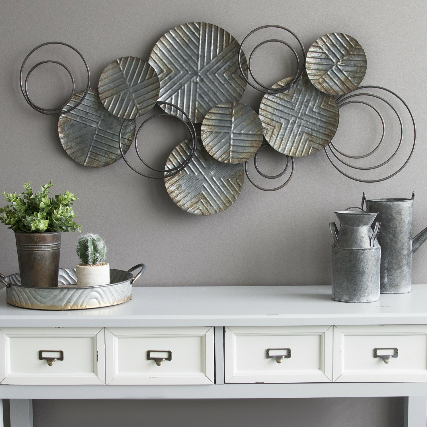 2020 Looped Wall Décor By Wade Logan Pertaining To Galvanized Plates Wall Décor (View 8 of 20)