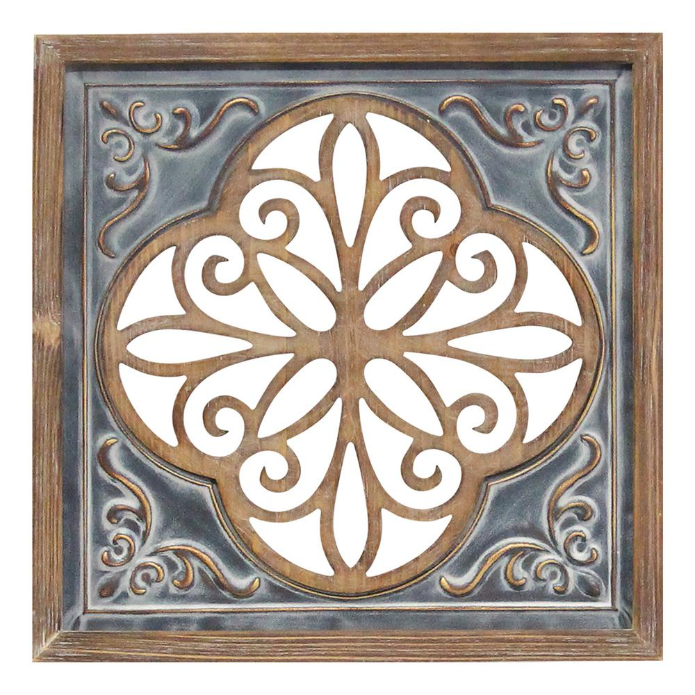 2020 Square Wood Wall Décor Intended For Stratton Home Decor Wood And Metal Blue Square Wall Decor S23780 – The Home Depot (View 17 of 20)