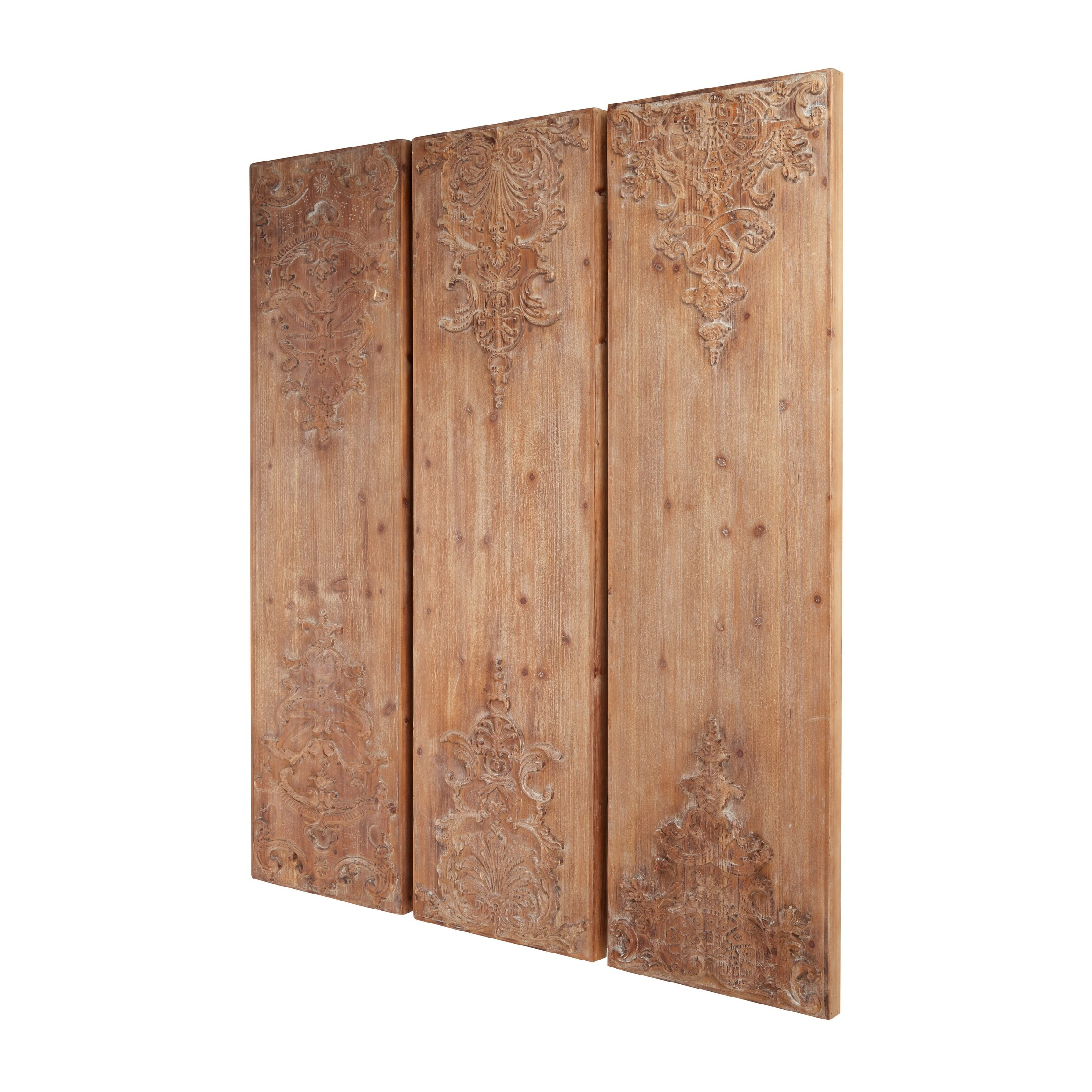 3 Piece Carved Ornate Wall Décor Set Intended For Most Popular Large Hand Carved Natural Wood Wall Decor Panels W Antique And Acanthus Carvings Set Of 3 (View 18 of 20)
