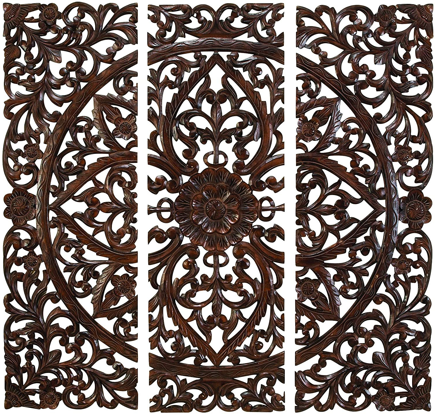 """3 Piece Carved Ornate Wall Décor Set Regarding Preferred Deco 79 14255 Large Hand Carved Wood Wall Panels With Floral & Acanthus Designs, 24"""" X 71"""" (View 2 of 20)"""
