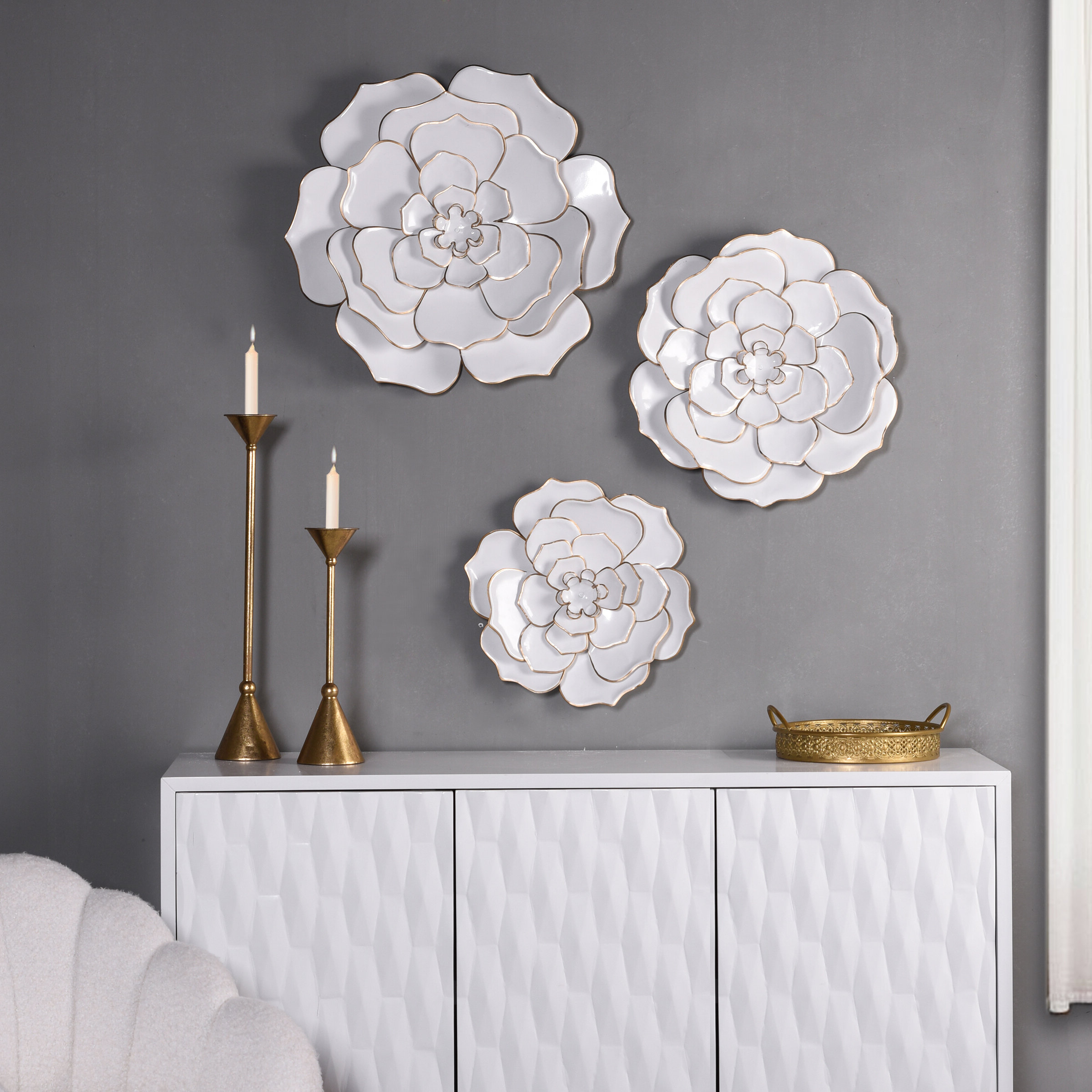 3 Piece Floral Metal Wall Décor Set In Preferred 3 Piece Metal Flower Wall Décor Set (View 6 of 20)