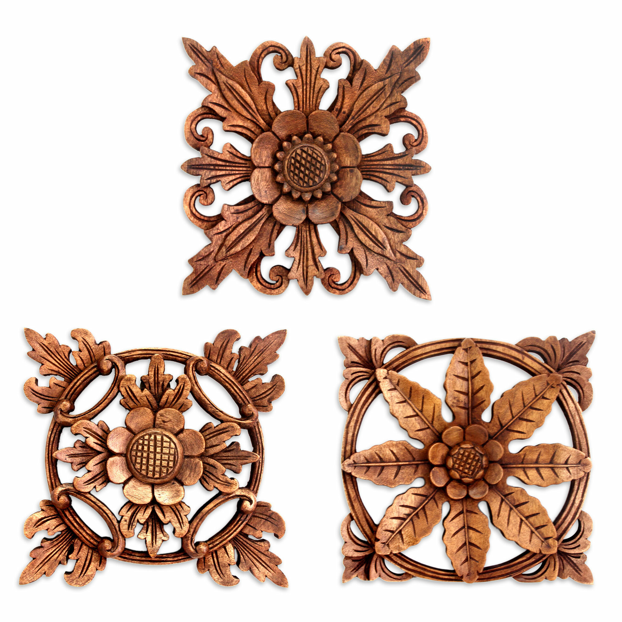 3 Piece Hand Carved Wood Floral Relief Panels Wall Décor Set Intended For Well Known 3 Piece Carved Ornate Wall Décor Set (View 12 of 20)