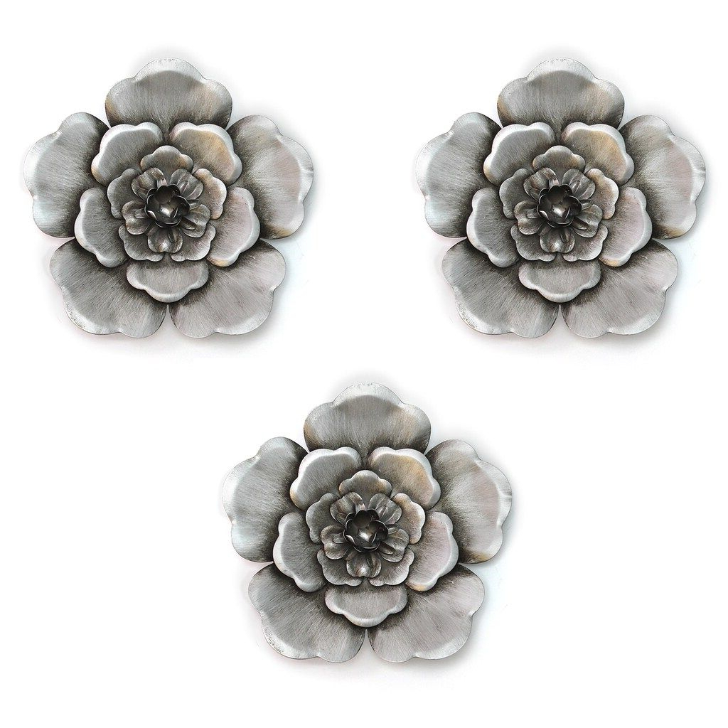 3 Piece Metal Flower Wall Décor Set For Preferred Stratton Home Decor Metal Flower Wall Decor 3 Piece Set (View 9 of 20)