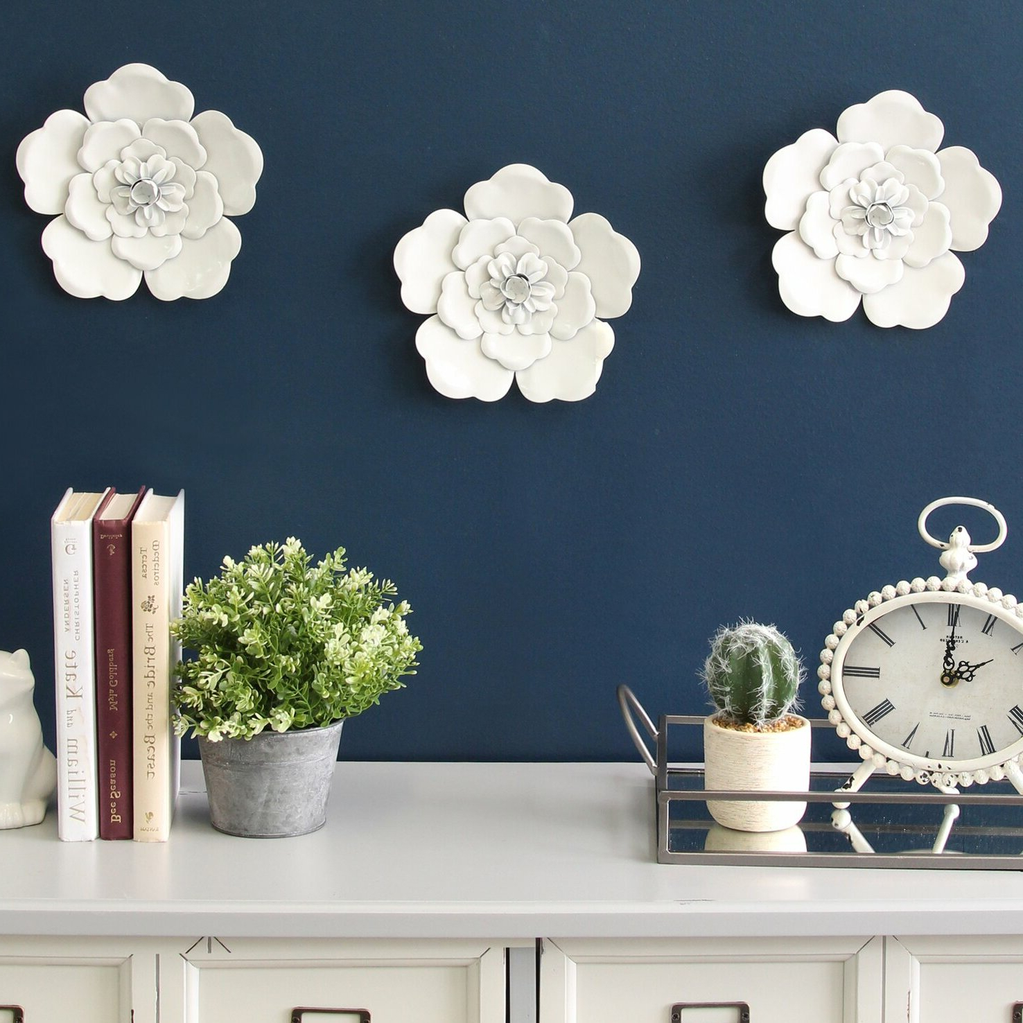 3 Piece Metal Flower Wall Décor Set In Most Recently Released 3 Piece Metal Flower Wall Décor Set (View 2 of 20)
