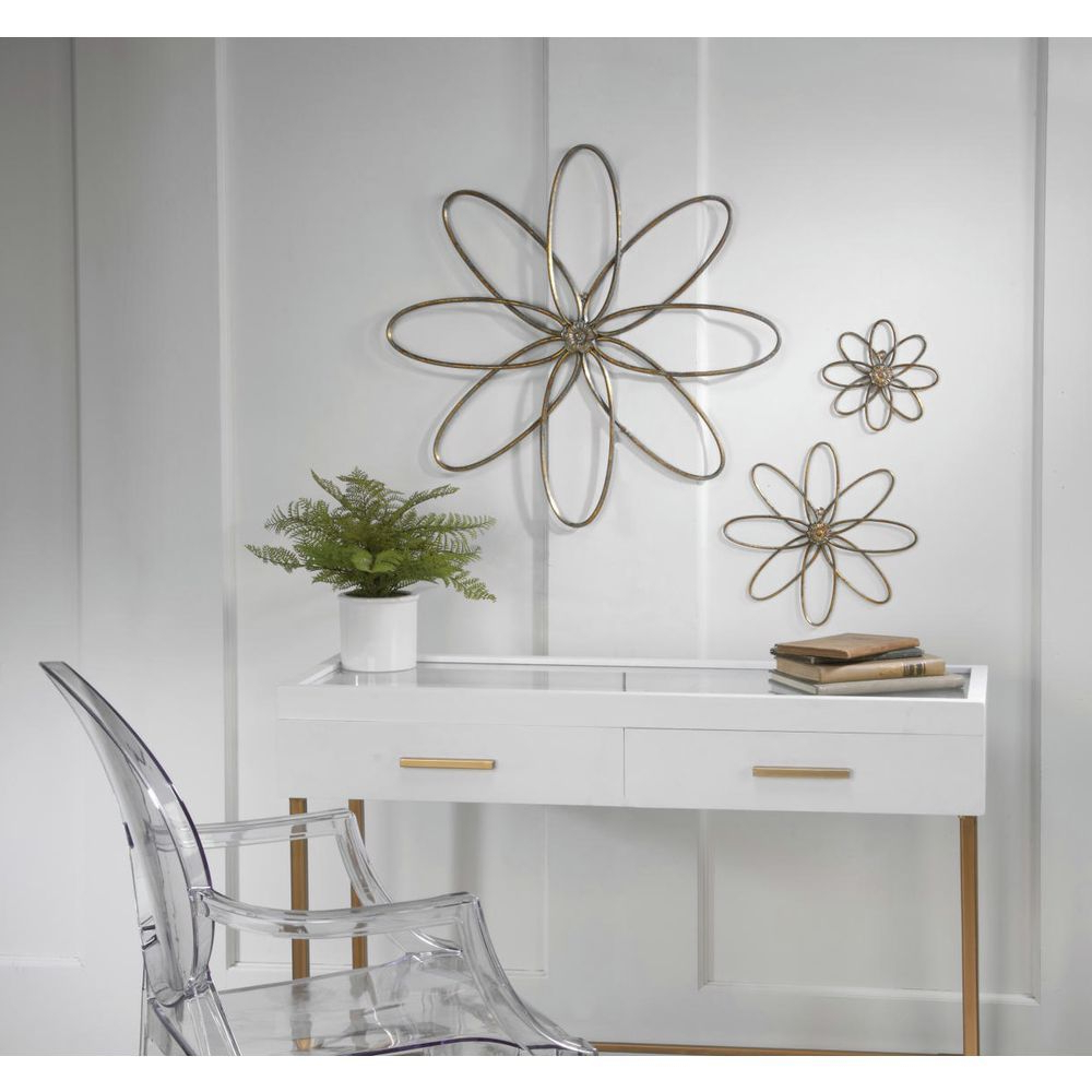 3 Piece Metal Flower Wall Décor Set In Most Recently Released Tripar 3 Piece Distressed Gold Metal Flower Wall Decor (View 14 of 20)