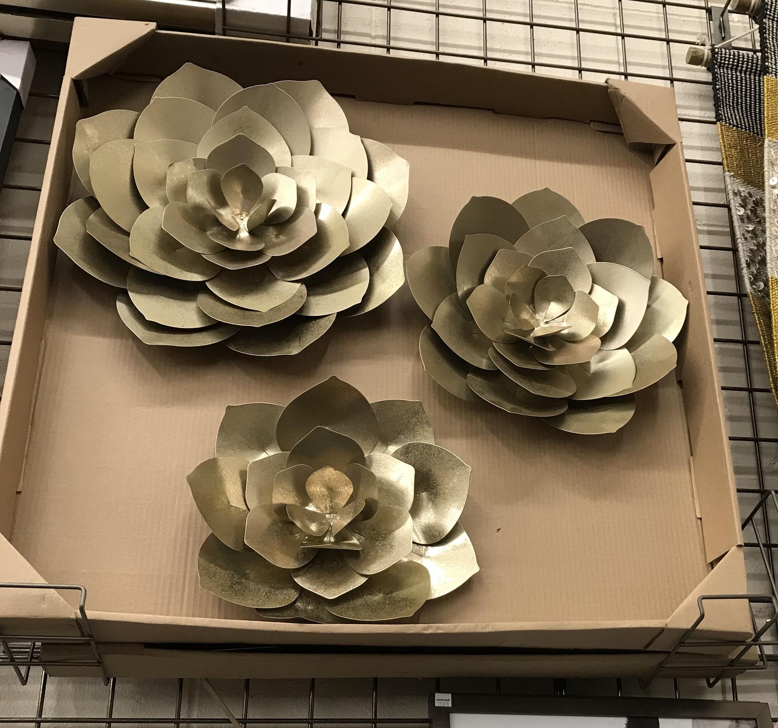 3 Piece Metal Flower Wall Décor Set Inside Current Gold Metal Flowers Wall Art Set Of (View 11 of 20)
