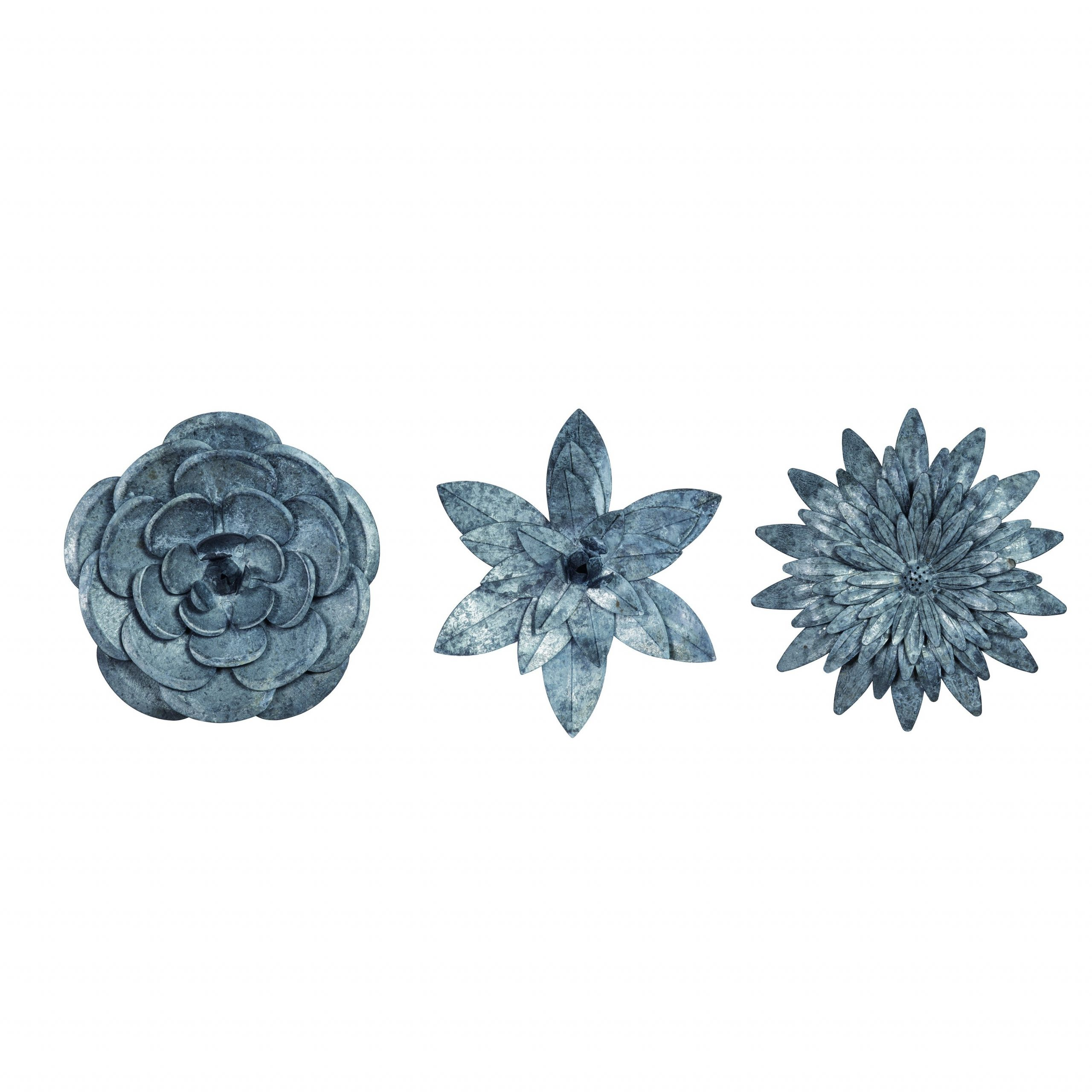 3 Piece Metal Flower Wall Décor Set Intended For Preferred Transpac Metal Silver Spring Dimensional Flower Wall Art Set Of (View 12 of 20)