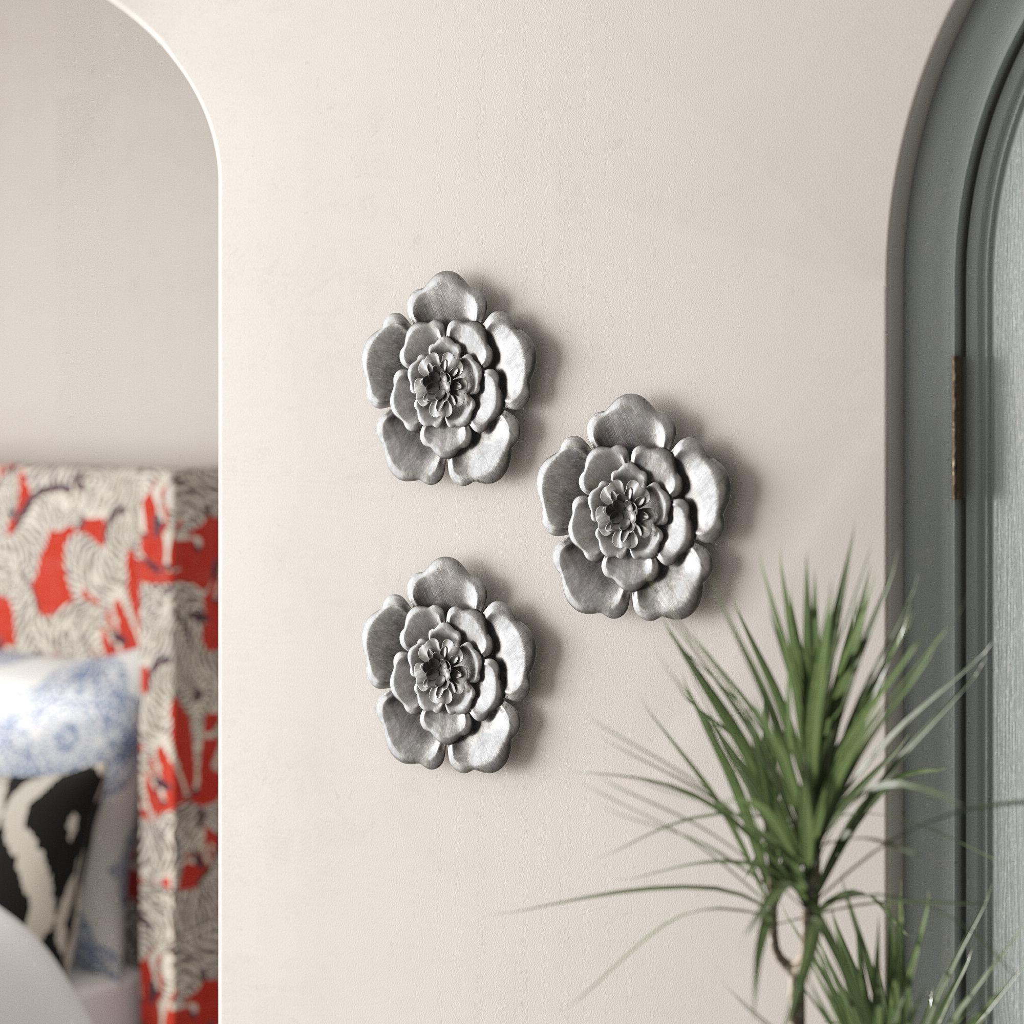 3 Piece Metal Flower Wall Décor Set Regarding Trendy 3 Piece Metal Flower Wall Décor Set (View 13 of 20)