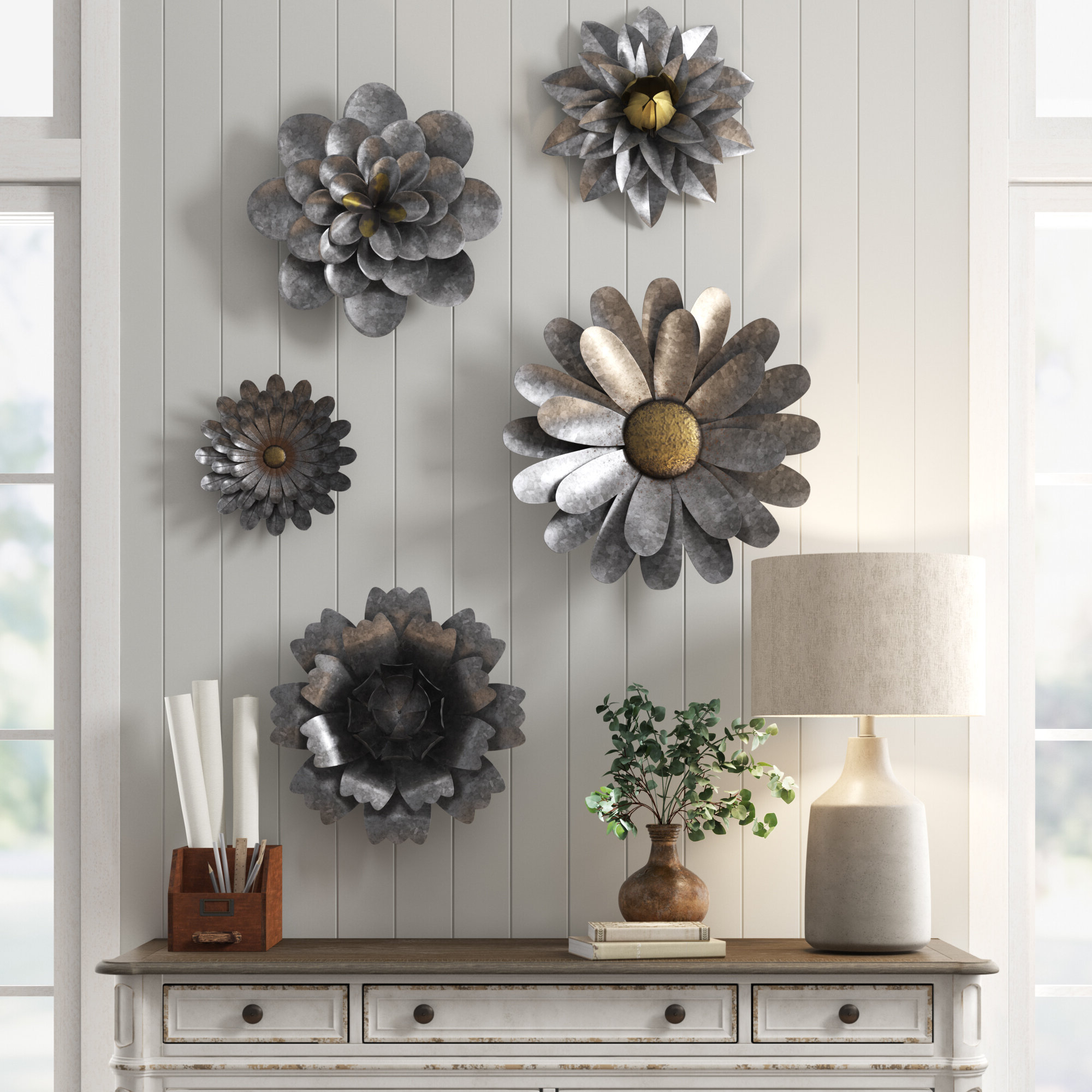 3 Piece Metal Flower Wall Décor Set Within Widely Used Set Of 3 Rustic Galvanized Wire Metal Indoor Outdoor Flowers (View 5 of 20)