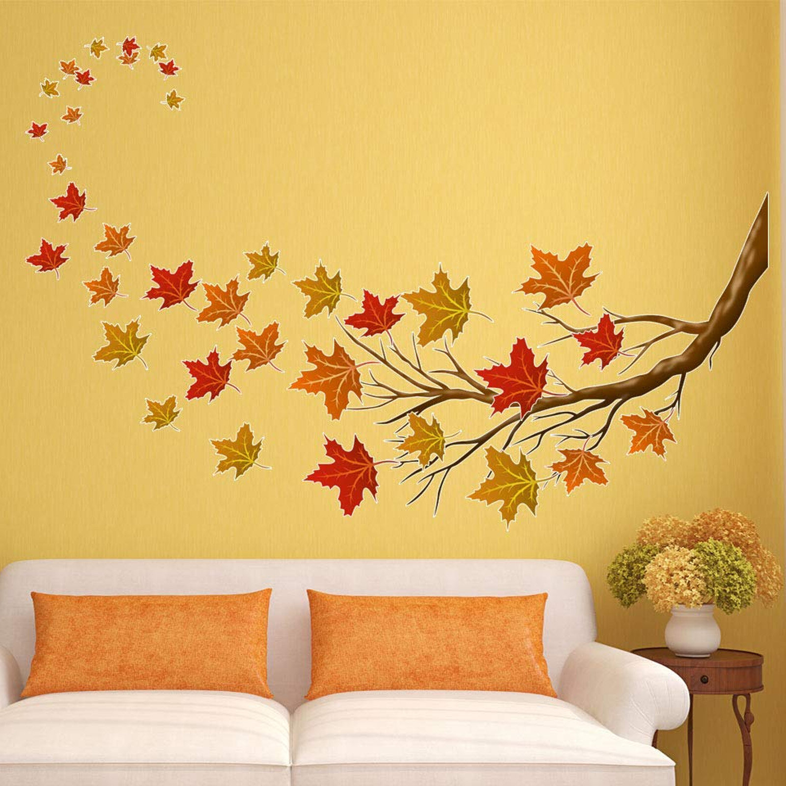 37 Piece Autumn Leaves Tree Branch Fall Decorations Wall Decal Set For Most Recently Released Tree Wall Décor By Winston Porter (View 12 of 20)
