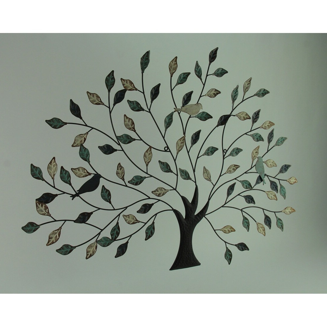 38 Inch Tri Tone Leaves Birds In Branches Metal Tree Indoor Outdoor Wall Decor Pertaining To Well Known Tree Branch Wall Décor By Fleur De Lis Living (View 15 of 20)