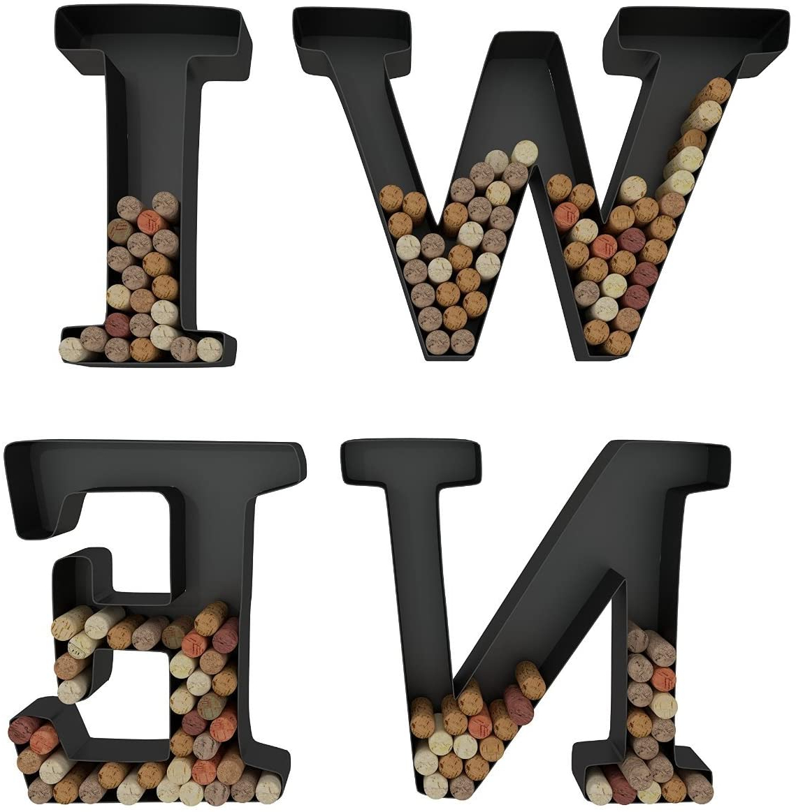 "4 Piece ""wine"" Letter Set Cork Holder Wall Décor Set Pertaining To Newest Wine Letter Cork Holder Art Wall Décor ~ Metal ~ All 4 Letters Wine ~ Gifts For Wine Lovers ~housevines (View 3 of 20)"