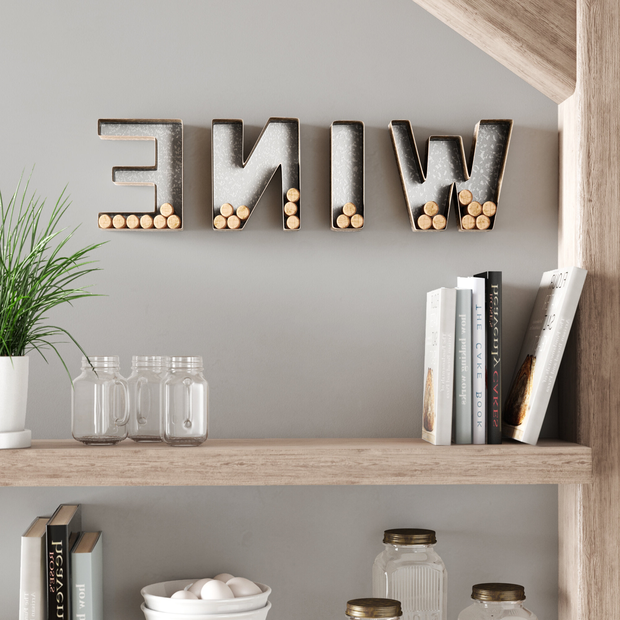 "4 Piece ""wine"" Letter Set Cork Holder Wall Décor Set With Regard To Most Current 4 Piece ""wine"" Letter Set Cork Holder Wall Décor Set (View 1 of 20)"