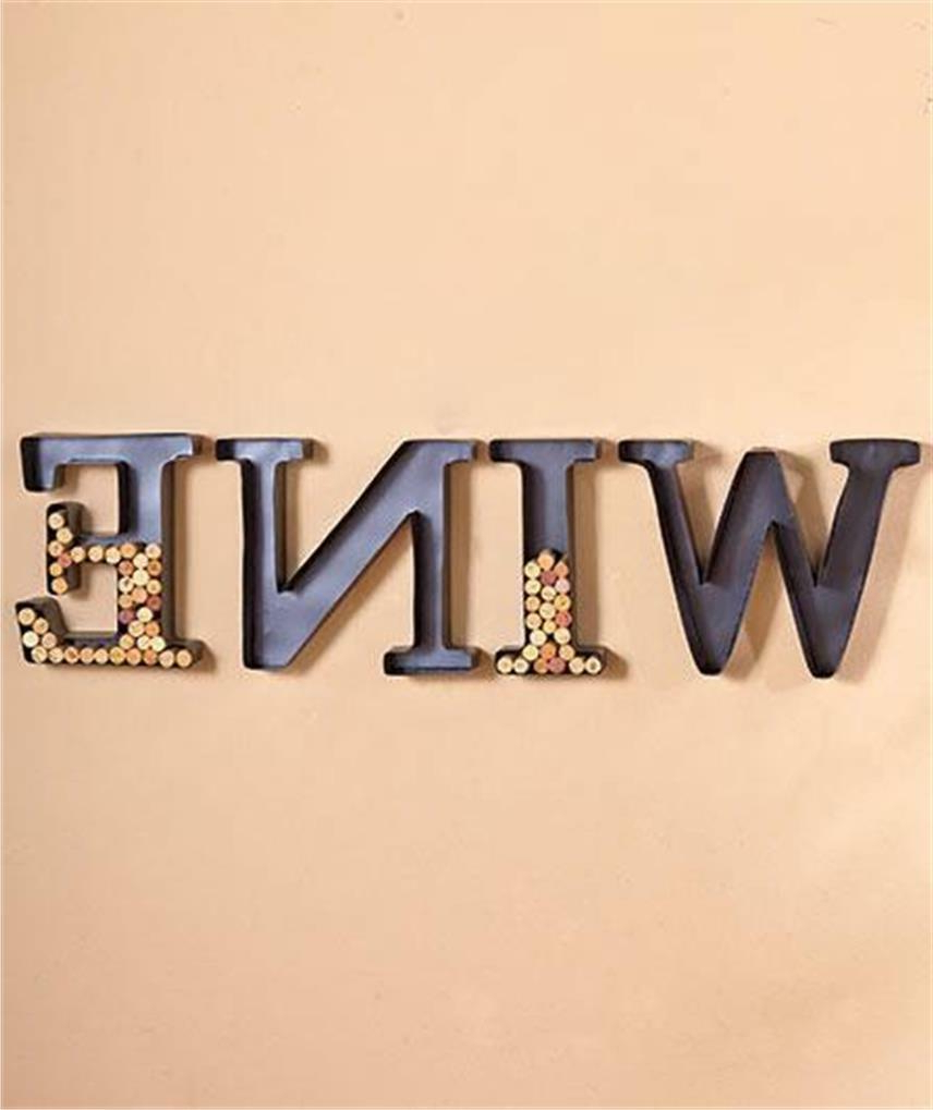 "4 Piece Wine Metal Monogram Letter Shaped Initial Wine Cork Holder Wall Art Set Throughout Well Known 4 Piece ""wine"" Letter Set Cork Holder Wall Décor Set (View 15 of 20)"