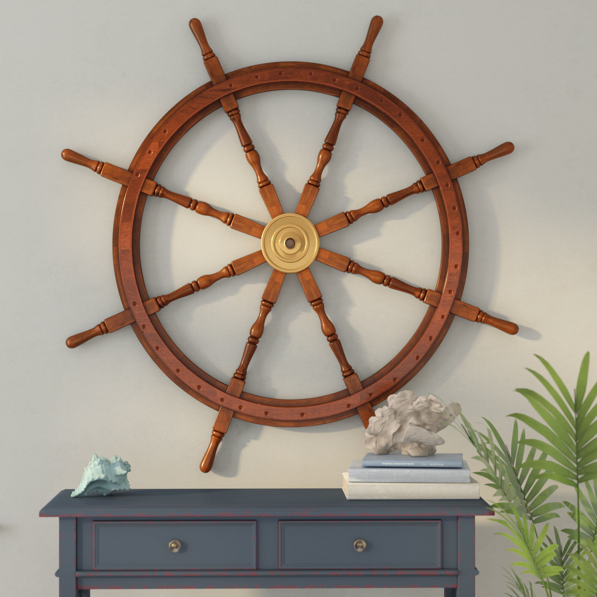 """48"""" Wood And Brass Decorative Ship Wheel Wall Décor With Most Popular Brown/brass Wood Ship Wheel Wall Décor (View 5 of 20)"""