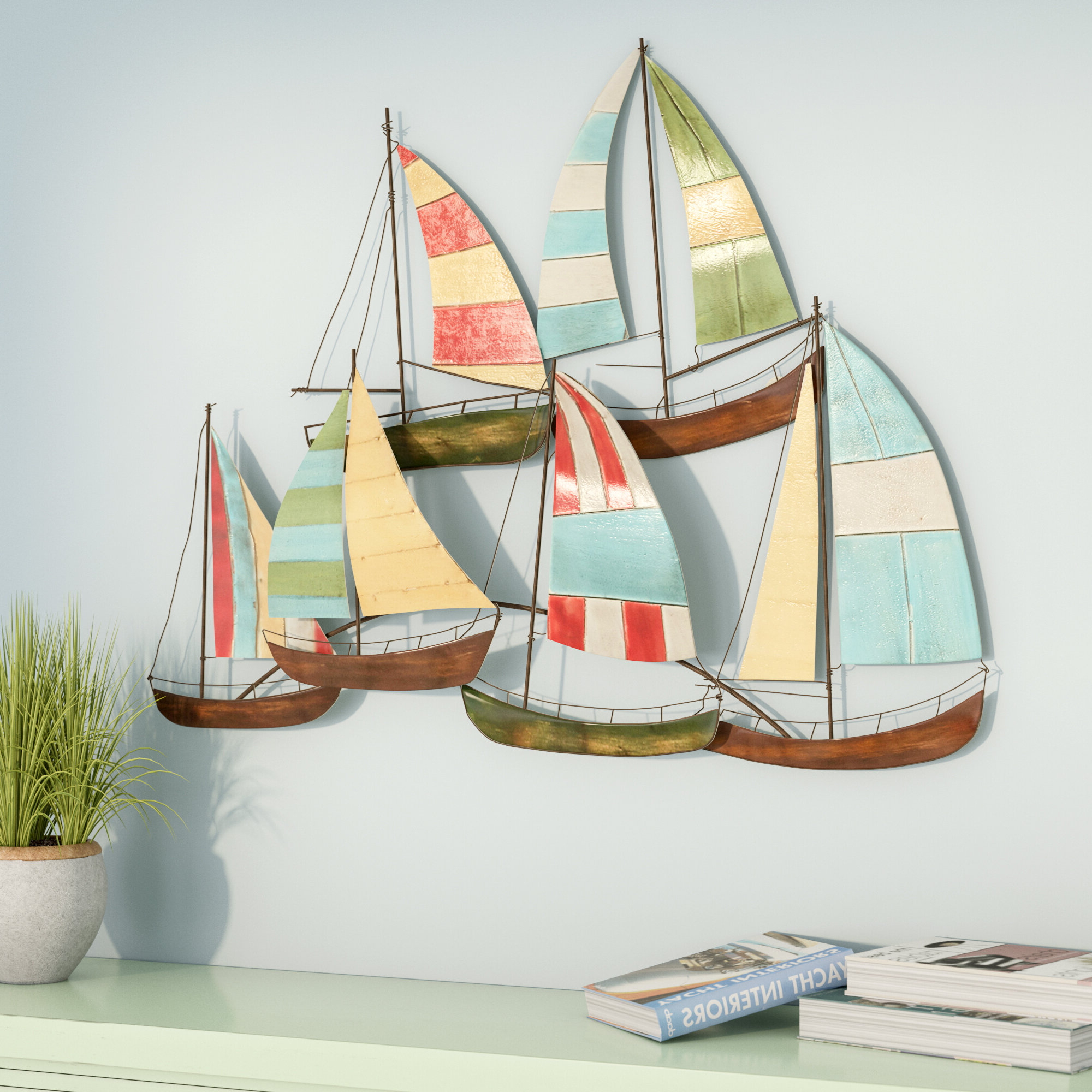"""6"""" Chrome Poop Deck Sign Wall Décor With Famous Coastal Metal Fish Wall Décor (View 16 of 17)"""