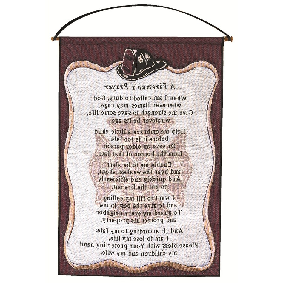 """A Fireman's Prayer Wall Art Hanging Tapestry 17"""" X 25"""" Intended For Well Known A Fireman Prayer Wall Hangings (View 6 of 20)"""