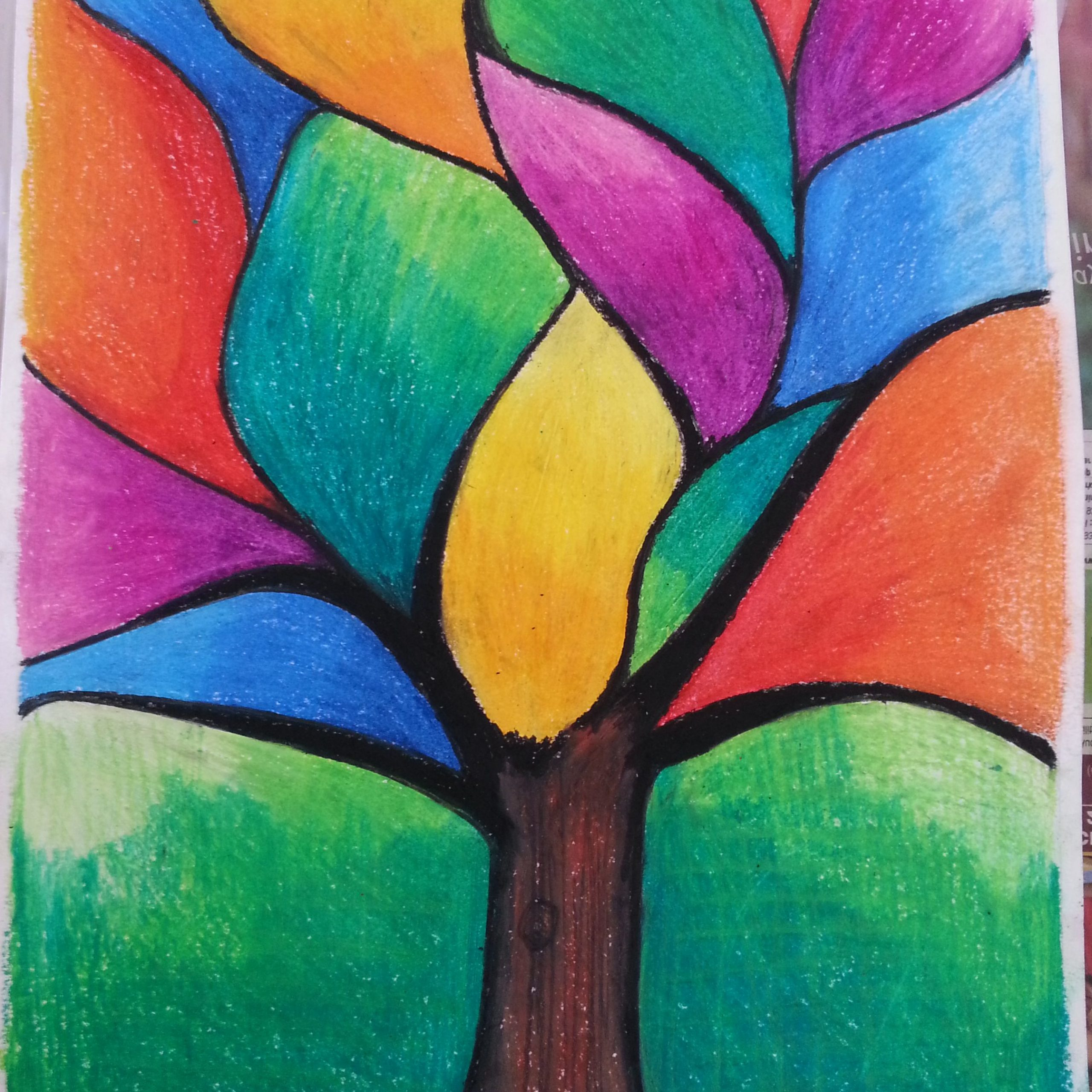 Abstract Art Painting, Oil Pastel Art For Blended Fabric Pastel Tree Of Life Wall Hangings (View 17 of 20)