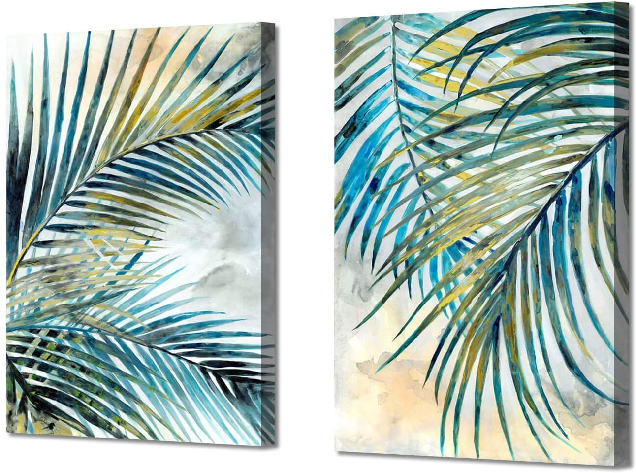 "Abstract Palm Leaves Wall Art: Tropical Ferns Leaf Graphic Art Print On Wrapped Canvas Set For Dining Rooms (12"" W X 16"" H X 2 Pcs,multi Sized) With Most Current Blended Fabric Palm Tree Wall Hangings (View 10 of 20)"